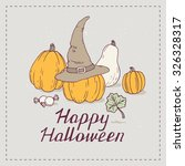 hand drawn halloween party... | Shutterstock .eps vector #326328317
