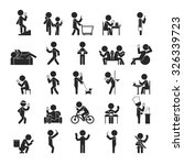 set of smartphone addiction  ... | Shutterstock .eps vector #326339723
