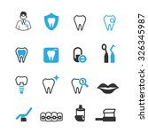 dental icons set  vector | Shutterstock .eps vector #326345987