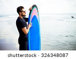 Surfing Surfer Man Looking At...