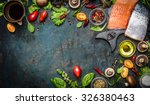 salmon fillet with fresh... | Shutterstock . vector #326380463