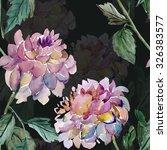 flower dahlia seamless pattern | Shutterstock . vector #326383577