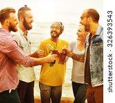 beach cheers celebration... | Shutterstock . vector #326393543