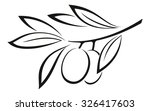 olive branch with berries and... | Shutterstock . vector #326417603