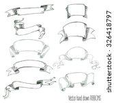vector hand drawn retro ribbons | Shutterstock .eps vector #326418797