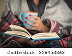 woman reading a book and... | Shutterstock . vector #326453363