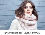winter portrait of young... | Shutterstock . vector #326459933