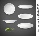 set of empty white plate on the