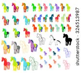 a set of images of horses in... | Shutterstock .eps vector #326513987