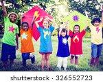 children playing kite happiness ... | Shutterstock . vector #326552723