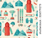 pattern of winter sports icon  | Shutterstock .eps vector #326579273