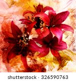 Stylized Bouquet Of Red Lilies...