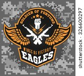 eagle wings   military label ... | Shutterstock .eps vector #326600297