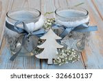Old Wooden Grey Shelves With...