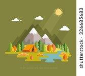 autumn. morning landscape in... | Shutterstock .eps vector #326685683
