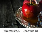red apples and grapes on a... | Shutterstock . vector #326693513