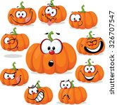 funny pumpkin with many faces   ... | Shutterstock .eps vector #326707547