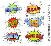 set of pop art comic sale... | Shutterstock . vector #326727443