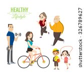 healthy lifestyle happy family... | Shutterstock .eps vector #326789627