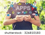 apps concept with young man... | Shutterstock . vector #326810183