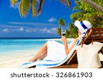 woman drinking wine on tropical ... | Shutterstock . vector #326861903