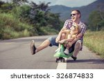 father and daughter playing  on ... | Shutterstock . vector #326874833