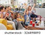 diverse mix of friends sports... | Shutterstock . vector #326898893