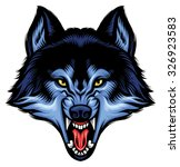 angry wolf head show his sharp... | Shutterstock .eps vector #326923583