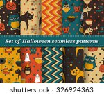 set of halloween seamless... | Shutterstock .eps vector #326924363