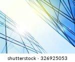 modern blue glass wall of... | Shutterstock .eps vector #326925053