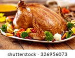 thanksgiving turkey dinner on... | Shutterstock . vector #326956073