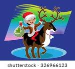 a boy sits astride a reindeer...   Shutterstock .eps vector #326966123