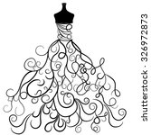 hand drawn wedding dress in... | Shutterstock .eps vector #326972873