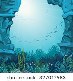 underwater cave and coral reef...   Shutterstock .eps vector #327012983