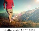 man jogging mountains exercise... | Shutterstock . vector #327014153