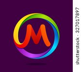 m letter colorful logo in the... | Shutterstock .eps vector #327017897