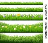 grass borders big set with... | Shutterstock .eps vector #327036593