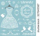 bridal shower decor elements... | Shutterstock .eps vector #327045587