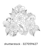 doodle art flowers. zentangle... | Shutterstock .eps vector #327059627