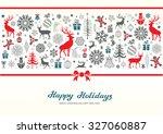 christmas retro greeting card... | Shutterstock .eps vector #327060887