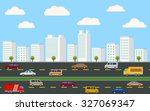 silhouette downtown city... | Shutterstock .eps vector #327069347
