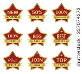 red stars labels with golden... | Shutterstock . vector #327074273