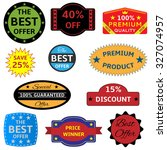 colored seals stickers on the... | Shutterstock . vector #327074957