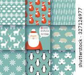 set of winter seamless patterns ... | Shutterstock .eps vector #327126977
