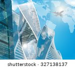 business center with world map... | Shutterstock . vector #327138137