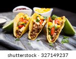 mexican food   delicious tacos... | Shutterstock . vector #327149237