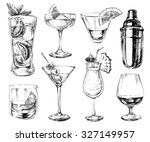 set of sketch cocktails and... | Shutterstock . vector #327149957