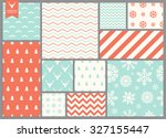 set of simple seamless retro... | Shutterstock .eps vector #327155447