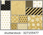 Stock vector set of simple seamless retro gold texture christmas patterns 327155477