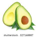 two fresh green ripe avocado... | Shutterstock . vector #327168887